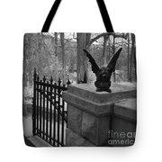 Surreal Gothic Gargoyle With Raven Black And White Gothic Gargoyles Gate Scene Tote Bag