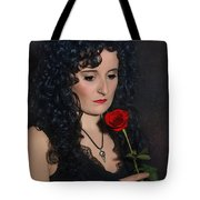 Gothic Woman With Rose Tote Bag