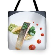 Gourmet Salmon Fish  Fillet With Rice And Guacamole Meal Tote Bag