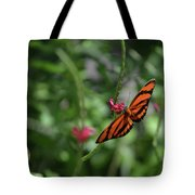 Graceful Oak Tiger Butterfly Around Pink Flowers Tote Bag