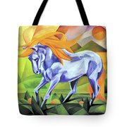 Graceful Stallion With Flaming Mane Tote Bag
