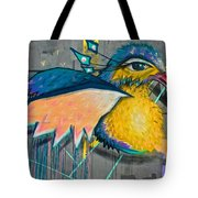 Graffiti Art Of A Colorful Bird Along Street IIn Hilly Valparaiso-chile Tote Bag