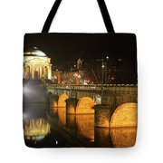 Gran Madre Church By Night In Turin, Italy Tote Bag