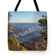 Grand Canyon View With Trees Tote Bag