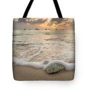 Grand Cayman Beach Coral Waves At Sunset Tote Bag