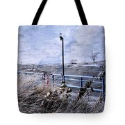 Grand Haven Channel With Winter Waves  Tote Bag