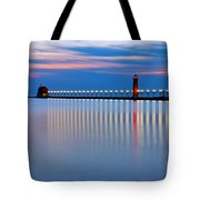 Grand Haven Pier Lights At Night Tote Bag