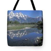Grand Teton Reflection At Schwabacher Landing Tote Bag
