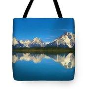 Grand Teton Reflection Wood Texture Tote Bag
