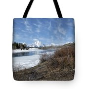 Grand Tetons From Oxbow Bend At A Distance Tote Bag