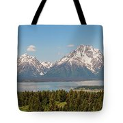 Grand Tetons Over Jackson Lake Panorama Tote Bag