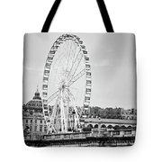Grande Roue In Paris - Black And White Tote Bag