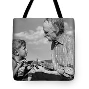 Grandfather And Boy With Model Plane Tote Bag