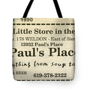 Grandparents Old Country Store Ad Tote Bag