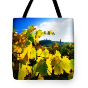 Grape Leaves And The Sky Tote Bag by Elaine Plesser