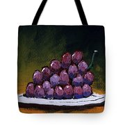 Grapes On A White Plate Tote Bag