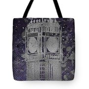 Graphic Art London Big Ben - Ultraviolet And Silver Tote Bag