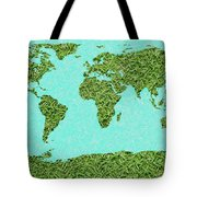 Grass World Map Tote Bag
