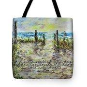 Grassy Beach Post Morning 2 Jeremiah 33 Tote Bag