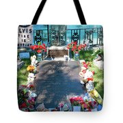 Grave Site At Graceland The Home Of Elvis Presley, Memphis, Tennessee Tote Bag