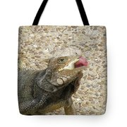 Gray Iguana Eating Lettuce With His Pink Tongue Sticking Out Tote Bag