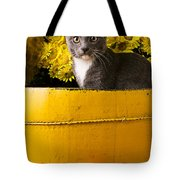 Gray Kitten In Yellow Bucket Tote Bag