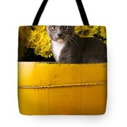 Gray Kitten In Yellow Bucket Tote Bag