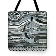 Gray Silk Maya Face In Nature Landscape Abstract Fantasy With Black Grey White Colors Sunset   Tote Bag