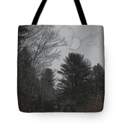 Gray Skies Over The Pines Tote Bag