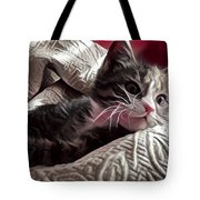 Gray Tabby With White Quilted Throw Tote Bag