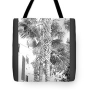 Grayscale Palm Trees Pen And Ink Tote Bag