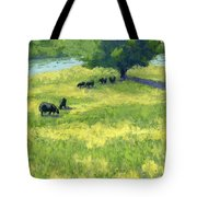 Grazing By The Bear River Tote Bag by David King