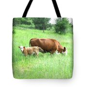 Grazing Cow And Calf Tote Bag