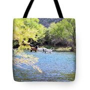Grazing Salt River Horses Tote Bag