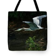 Great Blue Fly-by II Tote Bag