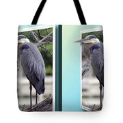 Great Blue Heron - Gently Cross Your Eyes And Focus On The Middle Image Tote Bag