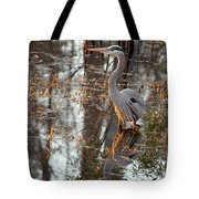 Great Blue Heron And Reflection Tote Bag