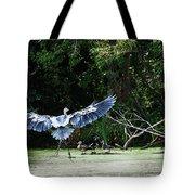 Great Blue Heron And Wood Ducks Tote Bag