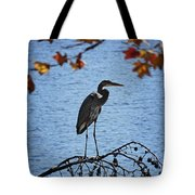 Great Blue Heron At Shores Of King's Mountain Point Tote Bag