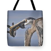 Great Blue Heron Catch Down The Hatch Tote Bag