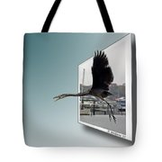 Great Blue Heron In Flight Tote Bag