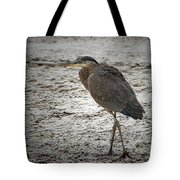 Great Blue Heron In The Snow Tote Bag