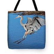 Great Blue Heron Landing In The Marsh Tote Bag