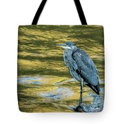 Great Blue Heron On A Golden River Vertical Tote Bag