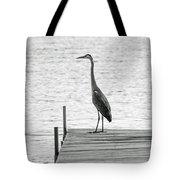 Great Blue Heron On Dock - Keuka Lake - Bw Tote Bag