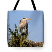 Great Blue Heron On Nest In A Palm Tree Tote Bag