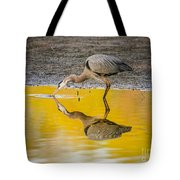 Great Blue Heron On Yellow Tote Bag