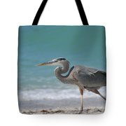Great Blue Heron Strolling On The Beach Tote Bag