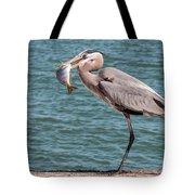 Great Blue Heron Walking With Fish #2 Tote Bag