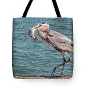 Great Blue Heron Walking With Fish #3 Tote Bag